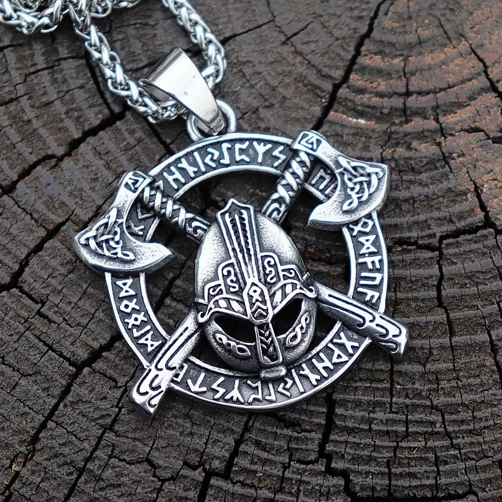 Slawischen Krieger Ax Runes 316L Edelstahl Anhänger herren Viking Pagan Amulett Schmuck