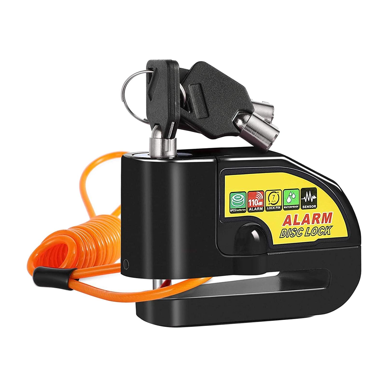 Motorbike Disc Brake Lock Alarm Anti Theft Heavy Duty & Reminder Cable