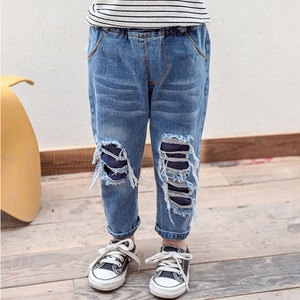 Children Clothes Baby Boys Girls Ripped Jeans Pants Casual Cotton Elastic Waist Denim Blue Trousers Toddler Hole Jeans 2-7T