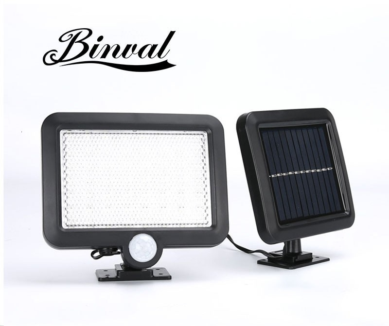 Lámpara de jardín para césped Binval 100COB con Sensor Solar de 6/56 LEDs, lámparas impermeables para exteriores, iluminación decorativa, lámpara Solar de pared, blanco
