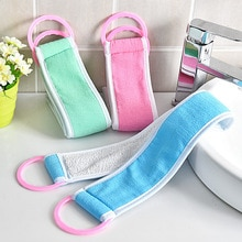 Serviette de bain longue à tirer à la main, gommage du dos, Double face, Polyester mat, exfoliante, brosse de bain, fournitures de salle de bain