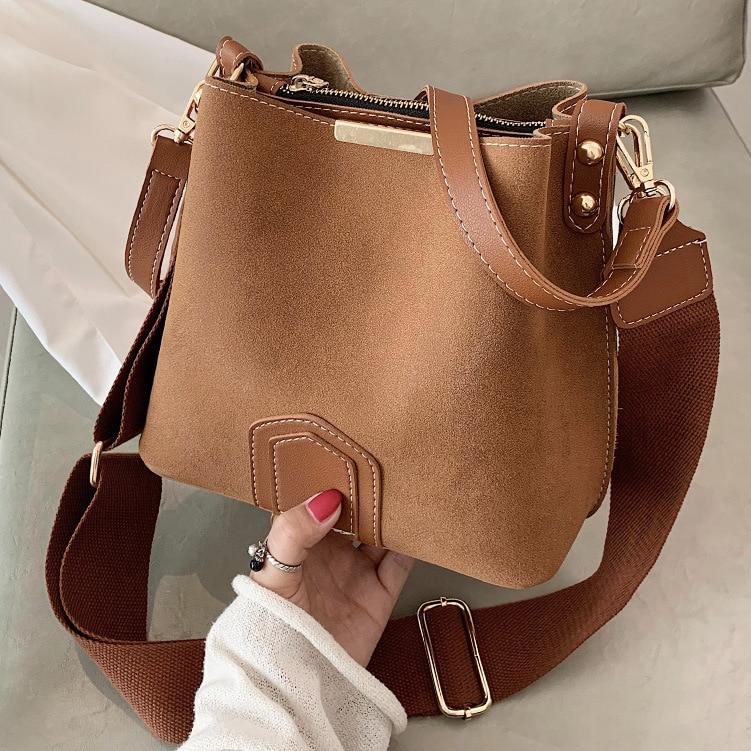 Vintage Scrub Leather Bucket Bags for Women 2021 Brand design Crossbody bags female Handbags Women's Wide Belt Shoulder Bag