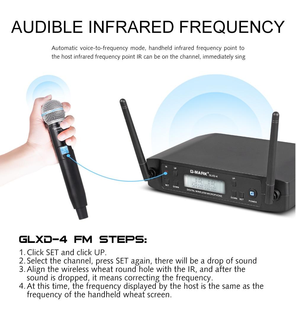 Wireless Microphone G-MARK GLXD4 Professional UHF Dual System SM58 Dynamic Handheld Mic DJ Speech Wedding Band Church Show Party enlarge