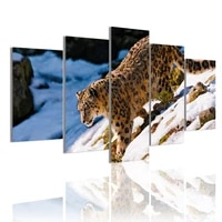 snow leopard walking 5 panels canvas painting hd poster wall art print pictures for living room interior home decoration frame