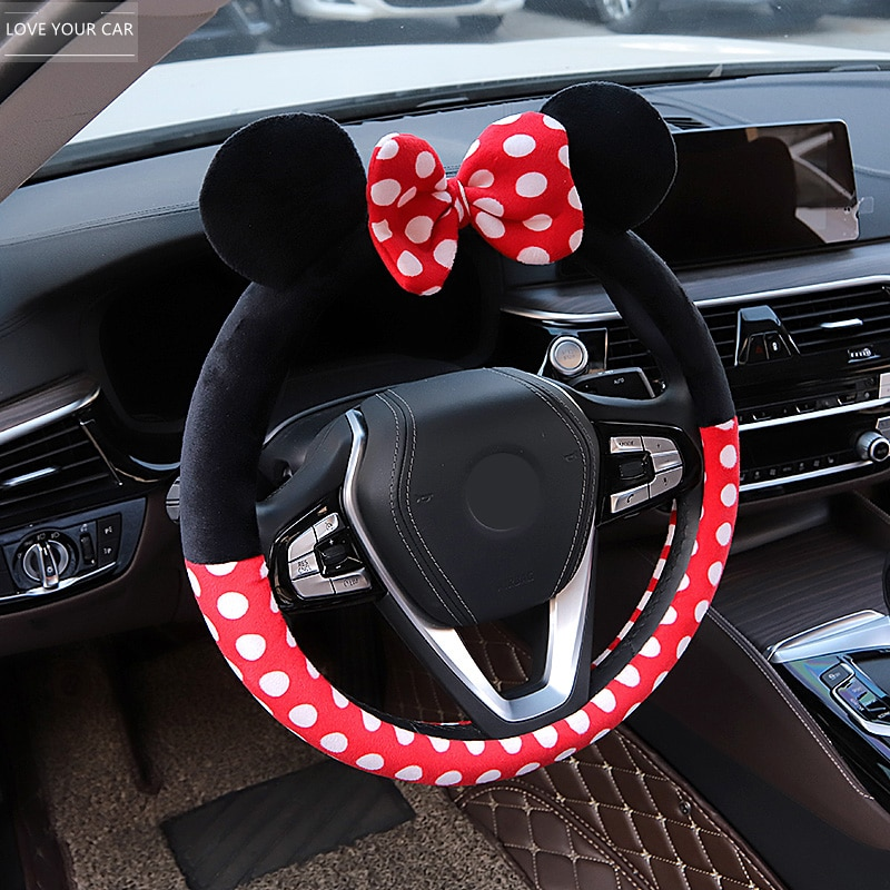 New Cute Cartoon Steering Wheel Cover For Girls Women Plush 14 Colors Car Accessories Steering Wheel Cover Creativity Universal