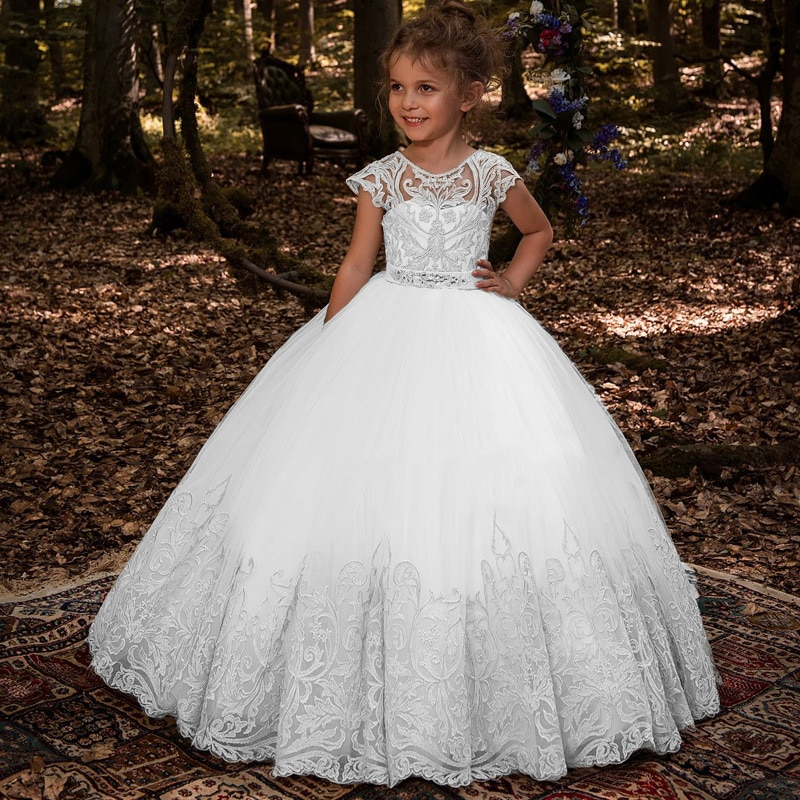 flower girls pageant dress kids wedding dresses for girl vestidos 2020 children lace white princess robe kid party evening gown Wedding Evening Children Princess Flower Girls Dress For Party Pageant Long Gown Kids Dresses For Girls Formal Luxury Clothes