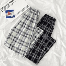 Lattice Ankle-length Pants Female Casual 2021 nian New Style Korean-style Loose Slimming and All-Mat