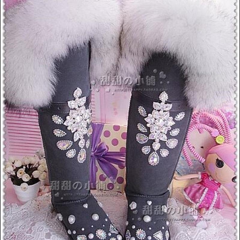خمر حجر الراين الكامل من الماس على الركبتين طويلة رمادي كبير الثعلب الفراء أحذية الثلوج