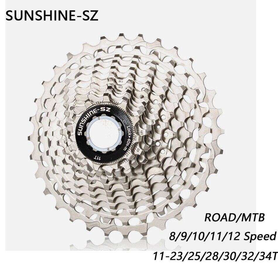SUNSHINE Road Bike Flywheel 8 9 10 11 12 Speed Velocidade 11-23T/25T/28T/30T/32T/34T Bicycle Cassette Freewheel MTB  Sprocket