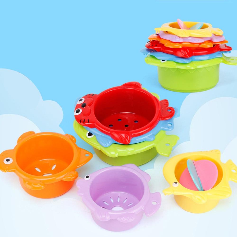 6 uds Set vaso apilable juguete de baño para bebé chico 1 a 3 Baño para niños niño niña bañera espuma playa piscina educación juguete de agua