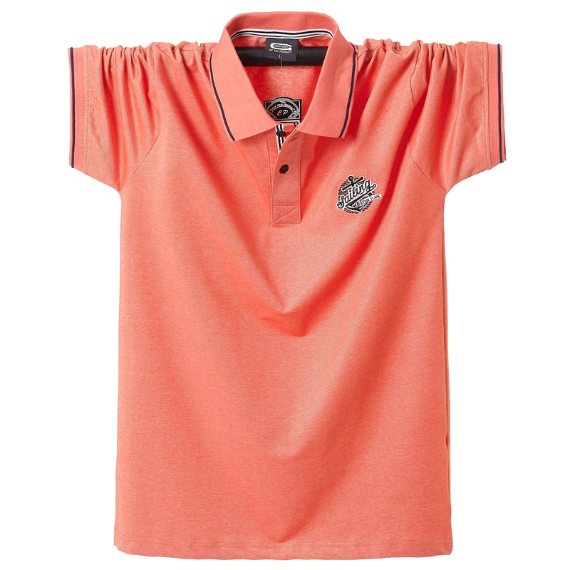 2020 verano hombres Polo Camisetas Camiseta de algodón purol manga corta bordado emblema Simple Top camisa de gran tamaño 5XL sólido Polo