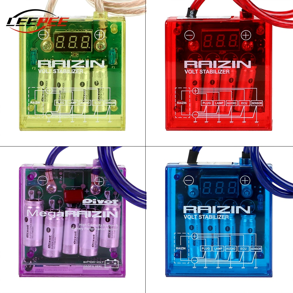 LEEPEE, Protector de voltaje, regulador electrónico automático con cables de tierra, rectificador electrónico de coche, accesorio Universal DC 12V