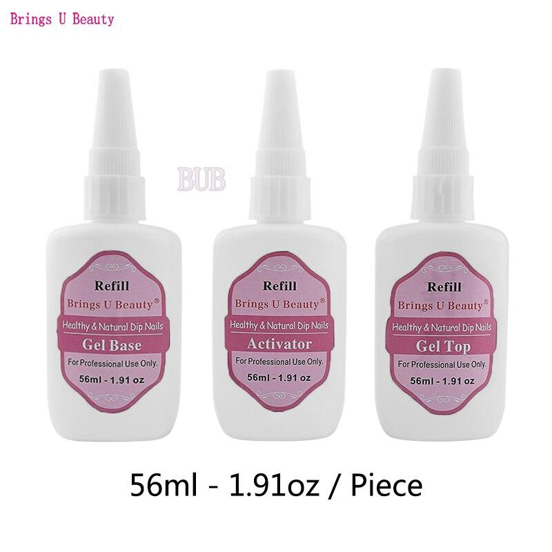 Recambio de Gel de 56 ml/1,91 oz activador superior Base de Gel 15ml Gel Base activador superior protector de cepillo para polvo de inmersión líquido pre-enlazado