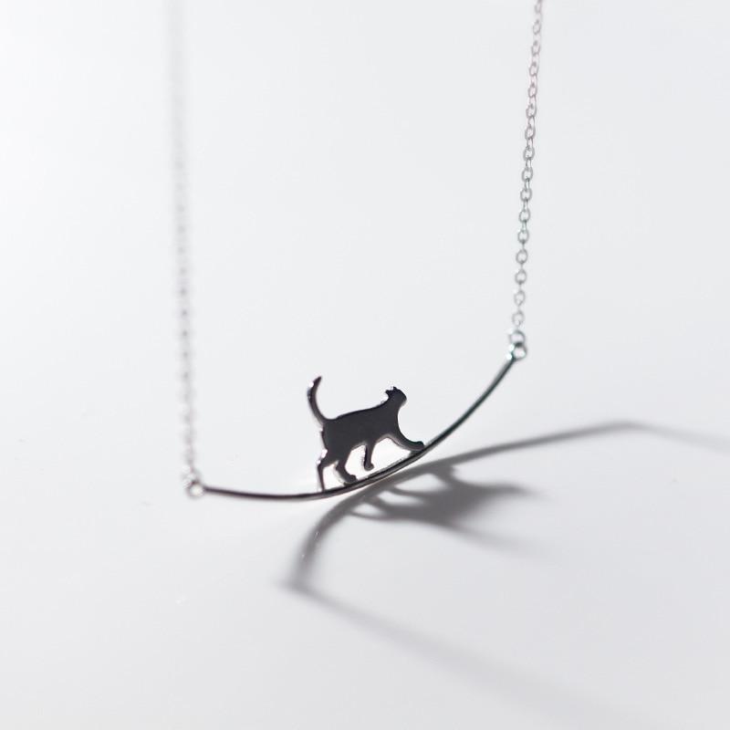Женское-Ожерелье-чокер-из-серебра-925-пробы-с-подвеской-в-виде-кота