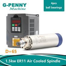 ¡Nuevo producto! 220V 1.5KW ER11 CNC de husillo Motor refrigerado por aire 65mm refrigeración por aire 4 rodamientos husillo para Motor CNC y 220v 1.5kw VFD inversor