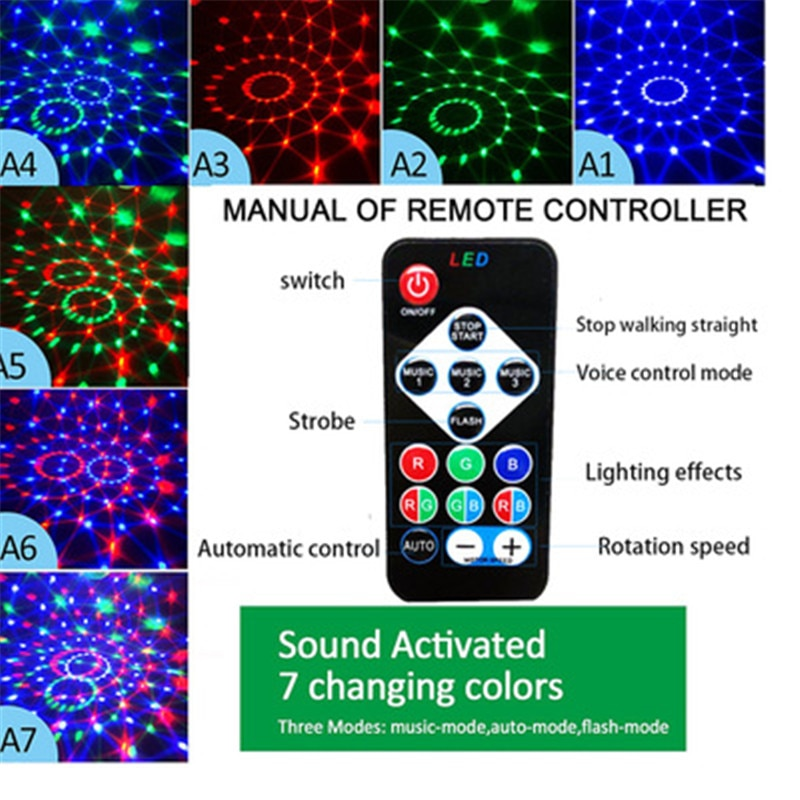 Цветной светодиод голос управление шар дискотека свет сцена свет RGB лазер проектор ночь свет свадьба вечеринка украшение