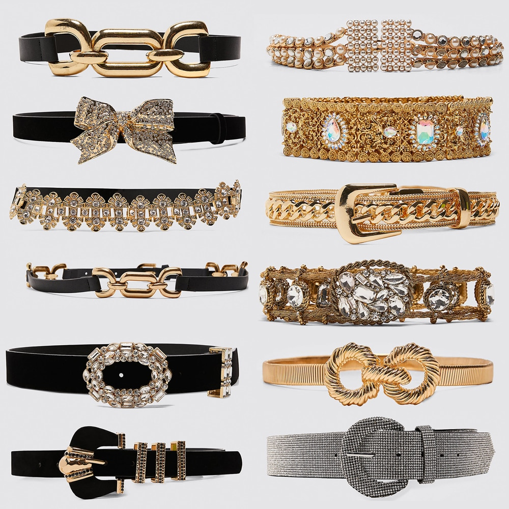 Bpgo Design de mode Za ceinture en cristal brillant pour les femmes charme velours ceintures métal boucle ceintures élégant dame Porm bijoux