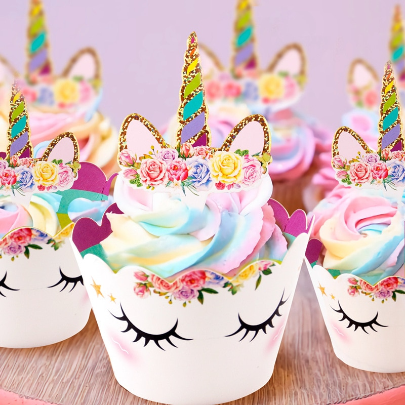 Rainbow Unicorn Cupcake Wrappers Cake Topper Birthday Party Decorations Tools Baby Shower Festival Supplies