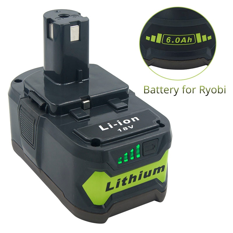 Para ryobi um + 18 v 6000 mah li-ion bateria substituição rb18l50 rb18l40 rb18l25 p108 p107 p104 p105 p102 p103 com lâmpada led