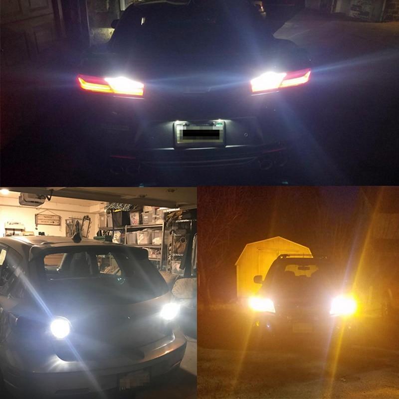 Купить с кэшбэком ANMINGPU 2x Car Led Signal Lamp 7440 W21/5W Led Canbus 3030SMD T20 W21/5W 7443 W21W Led Backup Lights Reversing Lights White Red