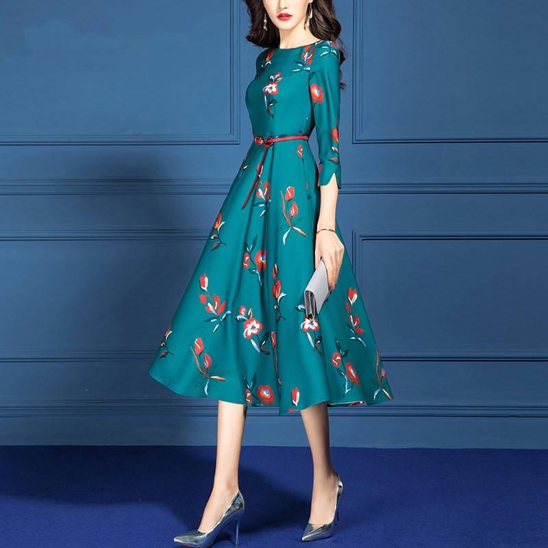 2020 Korean Elegant Fashion Midi Dress Women Green Print Women Clothes Runway Dresses Maxi Office Women's Clothing