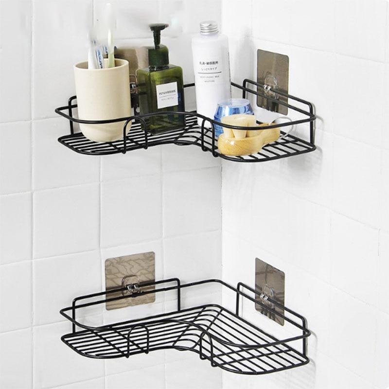 Неперфорированные угловые стеллажи для ванной, все принадлежности для ванной комнаты, железные стеллажи для хранения, кухонные треугольны...