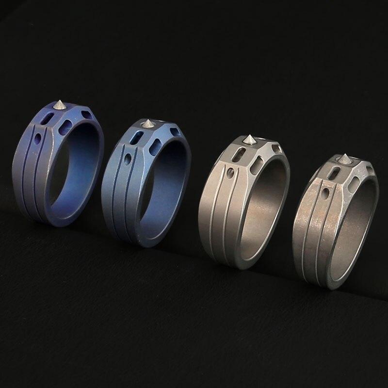 Liga de titânio tático anel defensivo tubo de trítio anel luminoso edc refere-se a janela de aço tungstênio quebrando a defesa