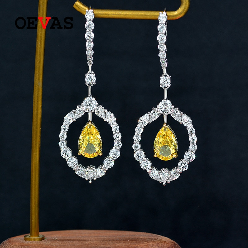 Promo OEVAS 100% 925 Sterling Silver 8*12mm Water Drop Yellow High Carbon Diamond Drop Earrings For Women Sparkling Party Fine Jewelry