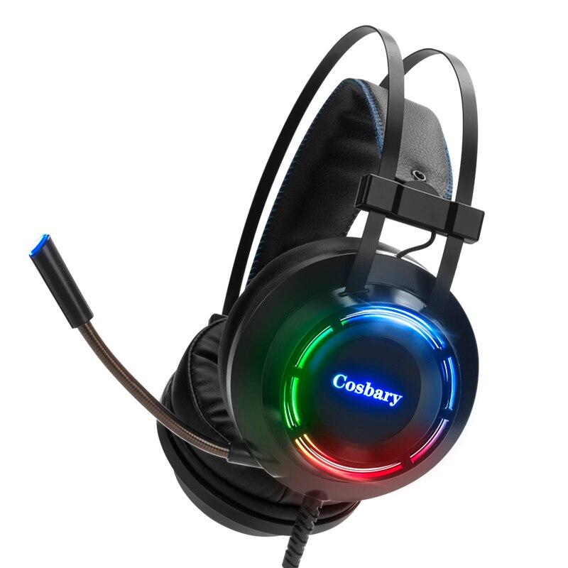 7.1 سماعة الألعاب سماعة رأس بمايكروفون ل جهاز كمبيوتر شخصي محمول W7/8 المهنية ألعاب سماعة المحيطي الصوت RGB ضوء
