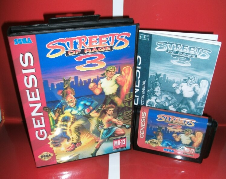 MD juegos de tarjeta-tarjeta de calles de ira 3 nos cubierta con caja y Manual para Sega Megadrive Génesis Video juego consola 16 poco MD tarjeta