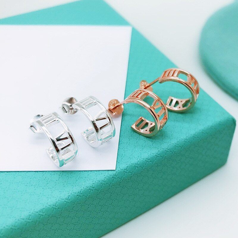 Roman numeral Ear studs s925 European and American new style rose gold/white gold Ear studs earrings