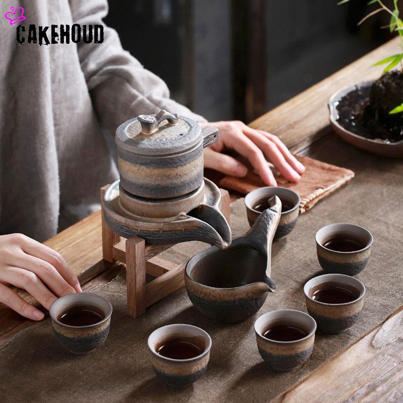إبريق شاي سيراميك أوتوماتيكي ، مطحنة حجرية ، طقم شاي الكونغ فو الصيني ، غلاية كسولة نصف أوتوماتيكية ، أطقم مكتب عملية