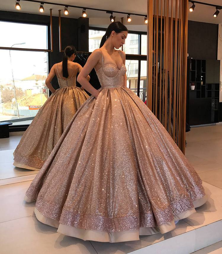 Encantador vestido de baile dulce 16 vestido rosa tiras doradas Puffy Glitter mujeres fiesta Quinceañera vestidos 2020
