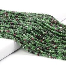 Perles en pierre naturelle épidote Zoisite 2 petites perles en vrac à facettes de 3mm pour la fabrication de bijoux collier Bracelet à bricoler soi-même accessoires 38cm