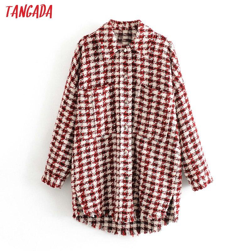 Tangada feminino xadrez vermelho oversized tweed jacket 2020 primavera borlas bolsos estilo solto manga longa casacos feminino outwear 3h436