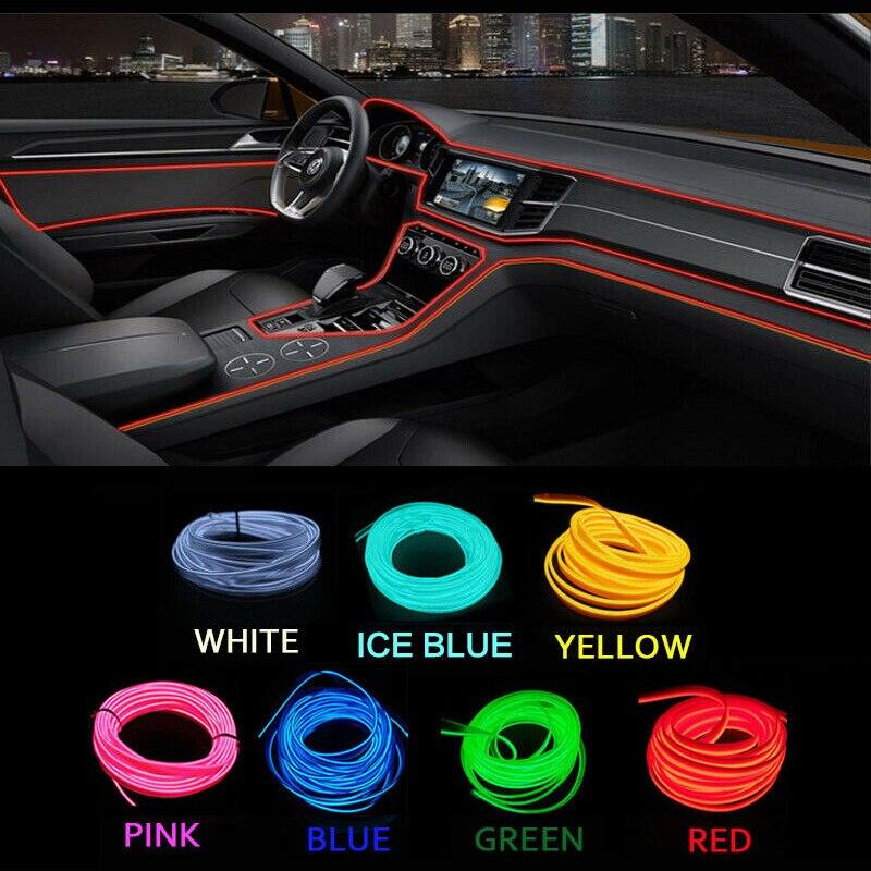 3/5 metros de néon interior do carro led luz fria tira decoração auto porta painel guarnição luzes reequipamento para chevrolet acessórios do carro