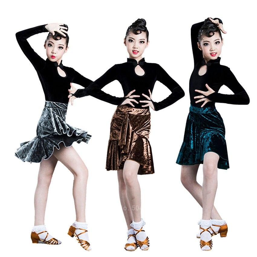 120-170 chicas adolescentes Trajes de baile latino de terciopelo elegante manga completa Tops Ruffle Skirt Set Latino vestido puesta en escena