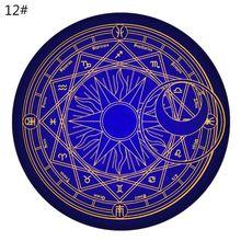 60cm Round Cartoon Rug Tarot Tablecloth Pentagram Sun Moon Divination Party Board Game Table Pad