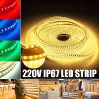 15 м/упак. 3014 SMD еще ярче, чем 3528 5050 SMD Светодиодные ленты светильник 220 в 120 светодиодов/M крытый декоративные ленты белого и синего цвета красны...