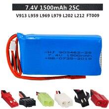 7.4V 1500mah Lipo batterie pour WLtoys V913 L959 L969 L979 L202 L212 A959 12428 HJ816 HJ817 RC Voiture Jouet bateau 903462-2S 7.4v batterie