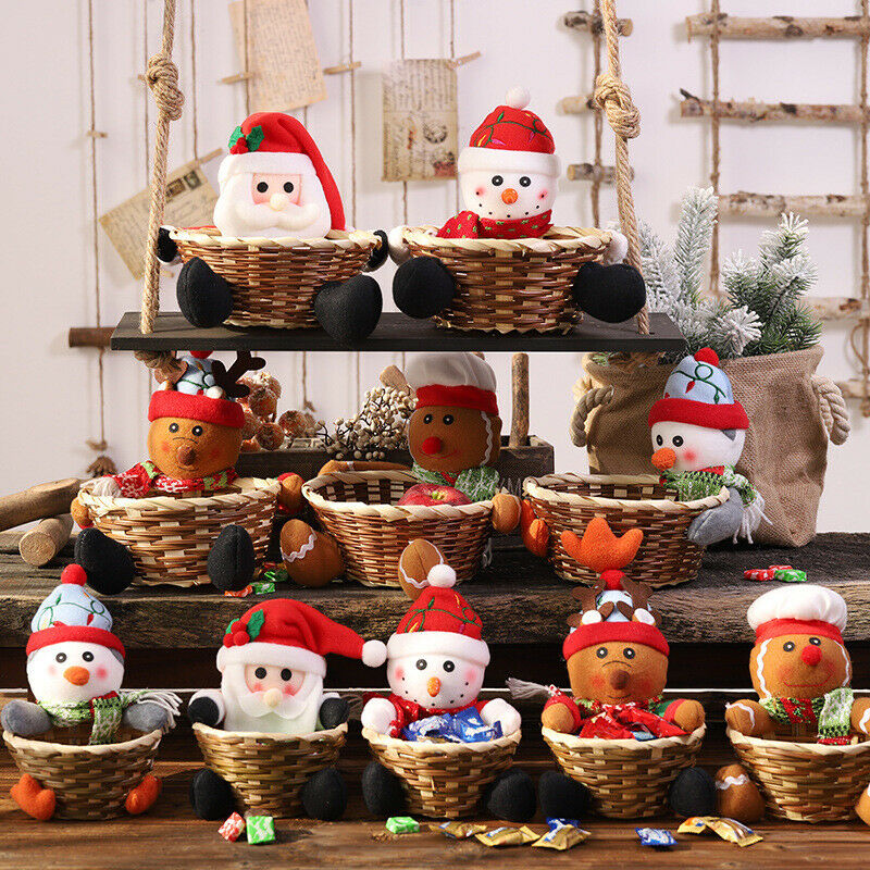 Caja de fruta de Navidad del Reino Unido contenedor de cesta de almacenamiento de dulces regalo de decoración del hogar de Navidad