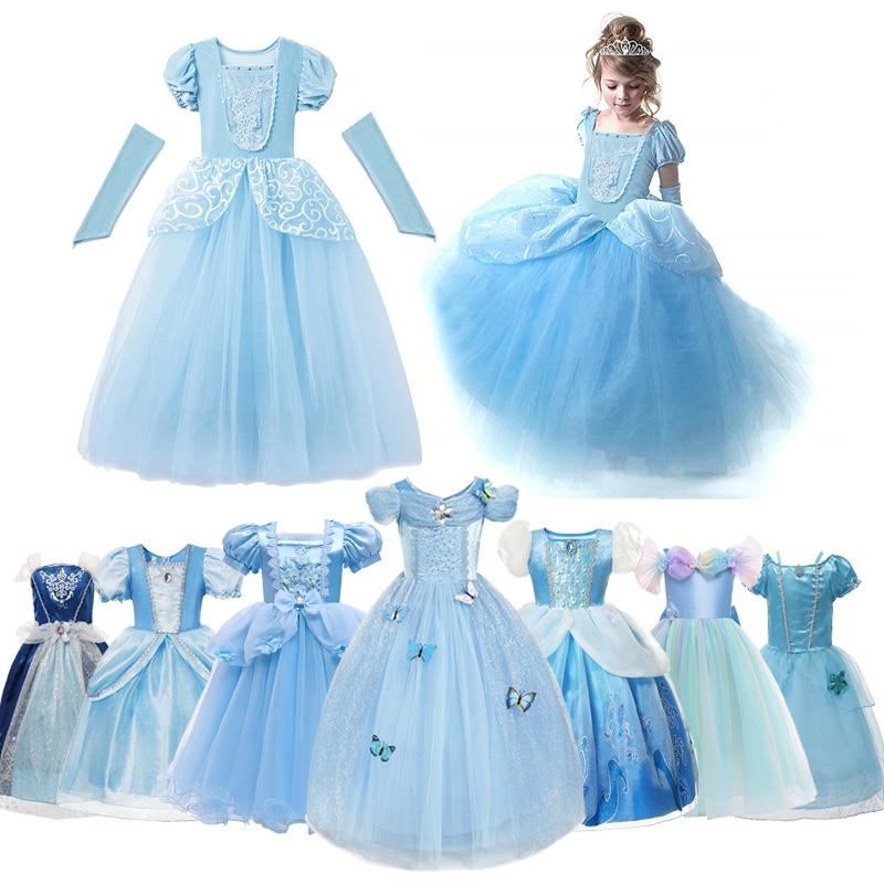 disney cinderella dress for girls halloween party cosplay costume kids princess dress up christmas fancy children clothing 2-10t