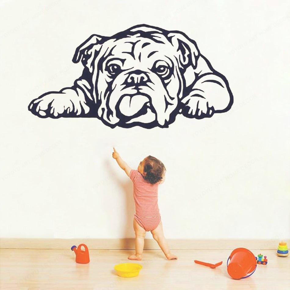 Bulldog Inglés etiqueta de la pared StickerAnimal vinilo pegatina Mural aseo salón decoración de la habitación de los niños arte PosterHL21
