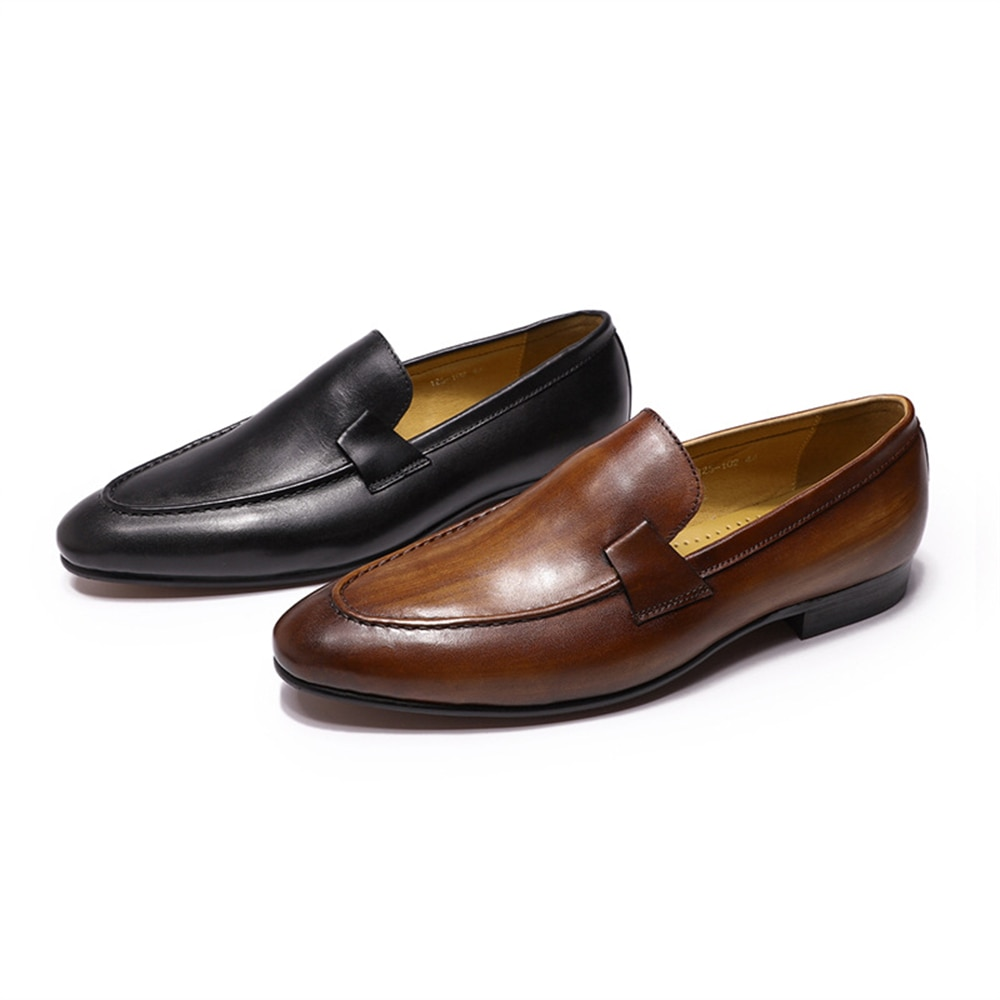 Genuine Leather Business Dress Shoes Plus Size 39-46 Black Brown Classic Cowhide Leather Wedding Party Shoes for Men