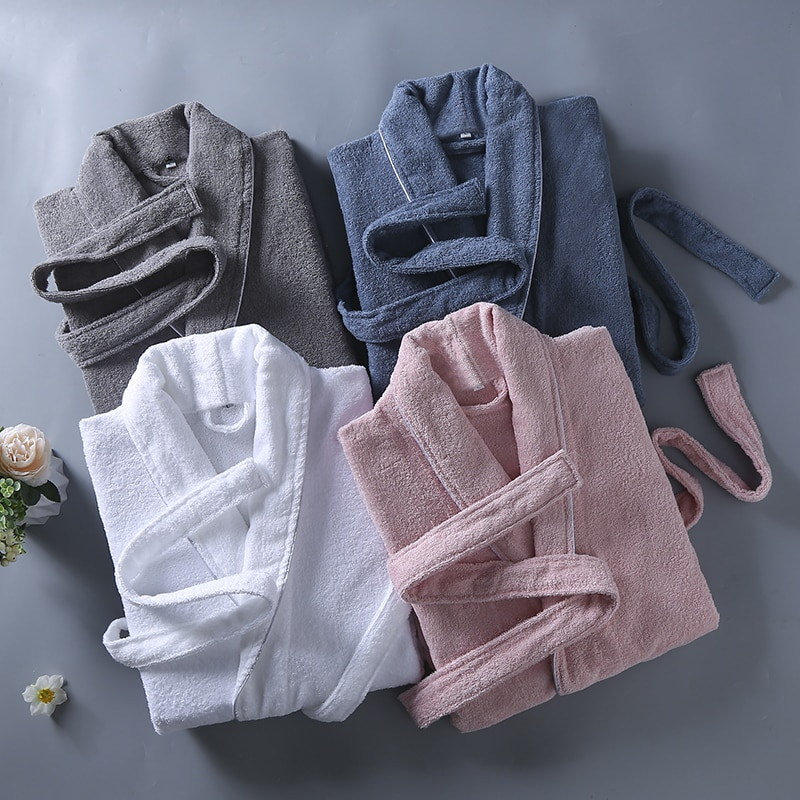 Kimono Robe Men 100% Cotton Housecoat Brand Pajamas Quality Long Sleeve Fall Bath Robe Luxury Bathrobe Men Cotton Classy White