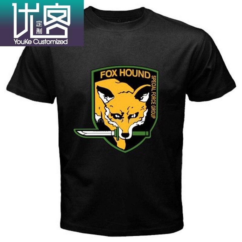 Metal Gear Solid Fox Hound Grupo Das Forças Especiais Dos Homens Preto T-Shirt Casual Cool orgulho t shirt homens Unisex New sbz6481