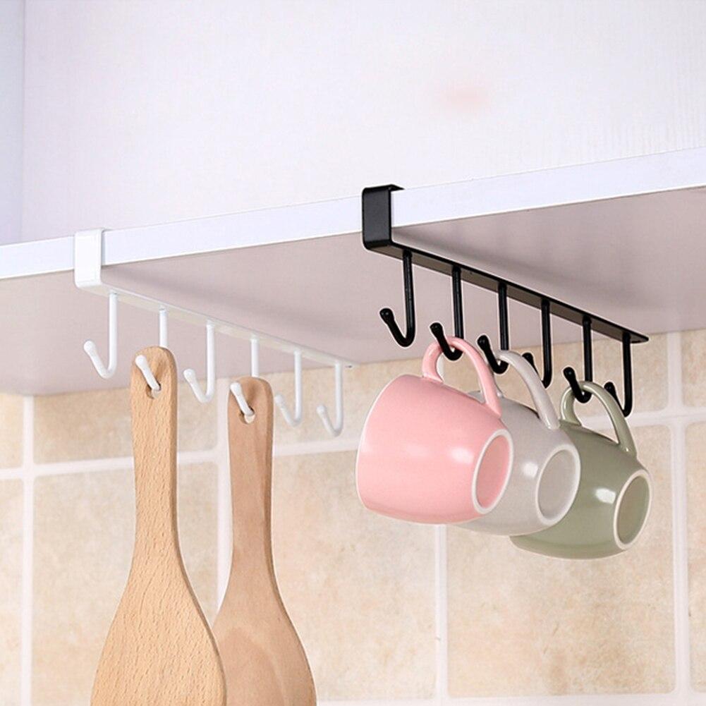 Gancho de Metal multifuncional de una sola fila soporte de taza de café soporte de almacenamiento de ropa de baño gancho para accesorios de cocina D40