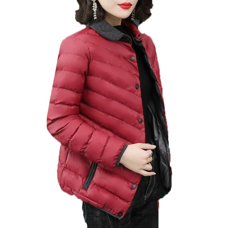 Moda de meia-idade e idosos para baixo casaco de algodão parkas outono inverno curto único breasted fino casaco plus size 4xl k101