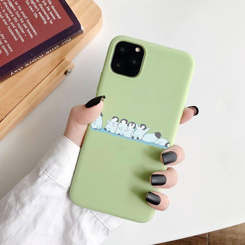 Penguin Polar Bear cute fashion Phone Case Candy Color for iPhone 6 7 8 11 12 s mini pro X XS XR MAX Plus obudowa na telefon