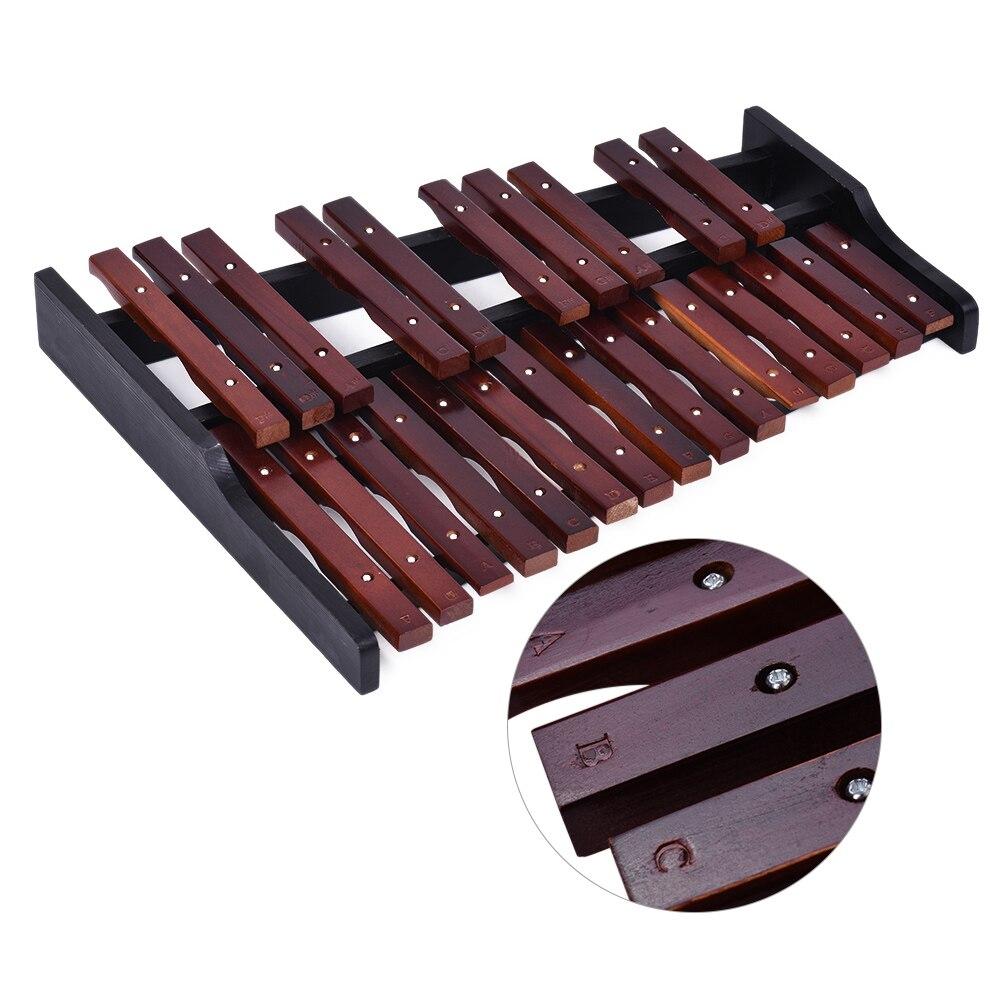 Plegable 25 Note Glockenspiel xilófono de madera marco barras de madera instrumento de percusión educativo regalo con 2 mazos